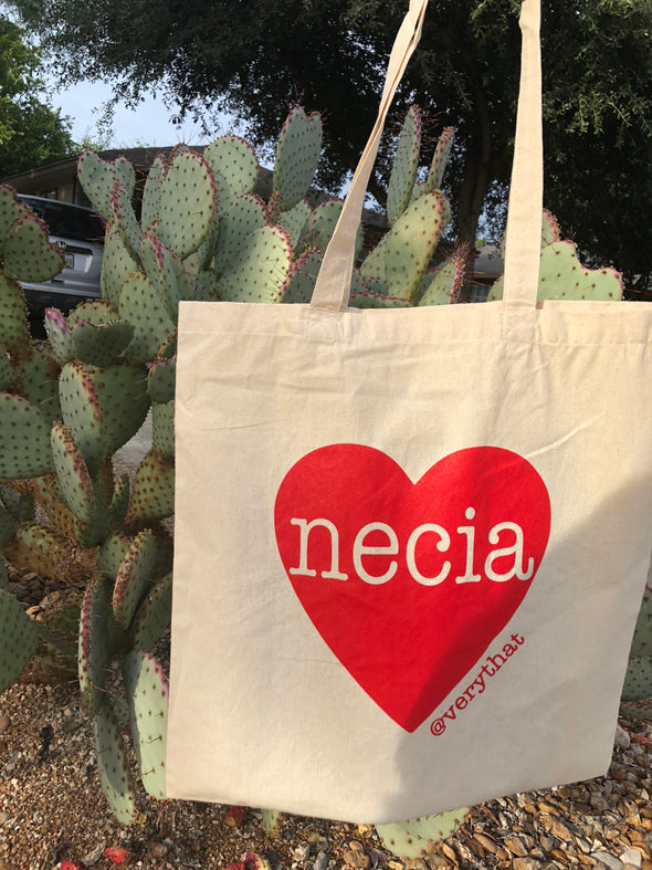 Necia Red Heart Canvas tote bag by Very That