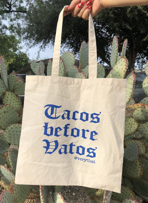 Tacos Before Vatos in Blue canvas tote bag by Very That