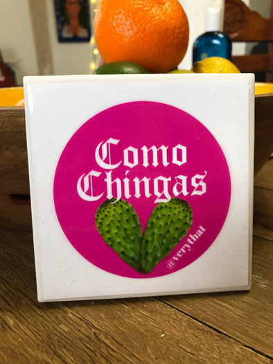Como Chingas + Cactus Heart Tile | Coaster | by VeryThat