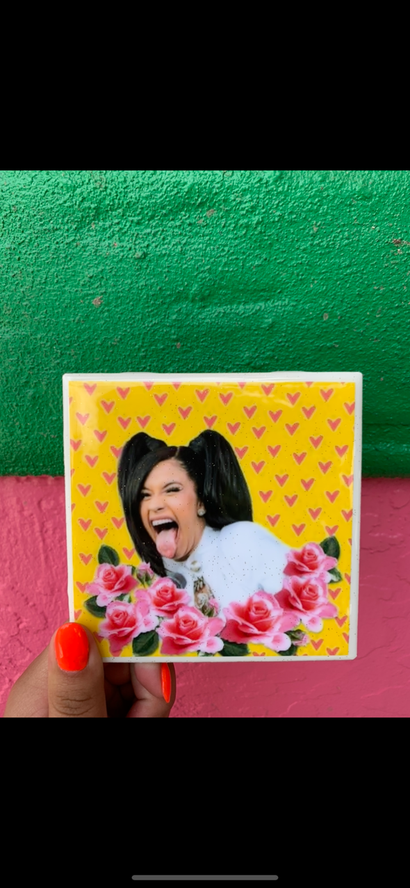 Cardi B Yellow tile / coaster