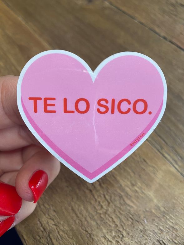 Te Lo Sico Pink Heart Sticker