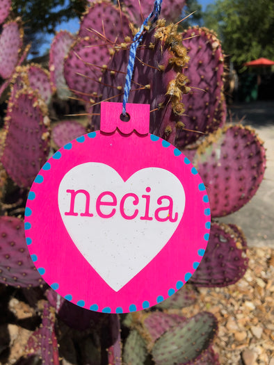 Pink Necia Heart Ornament