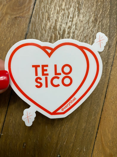 Te Lo Sico Heart Sticker - White and Red Dye Cut
