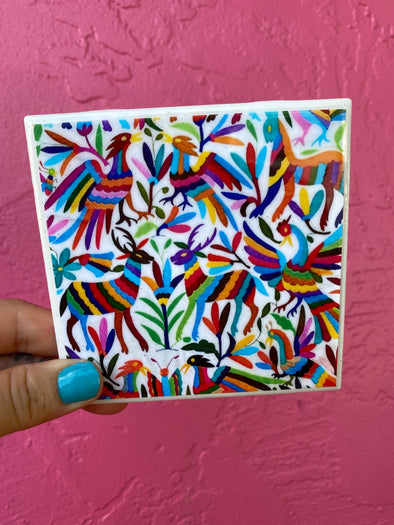 Otomi Pattern Tile / Coaster (Multicolor)