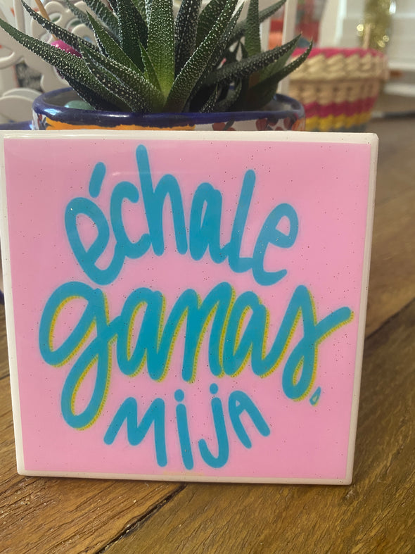 Echale Ganas Pink Tile / Coaster by VeryThat