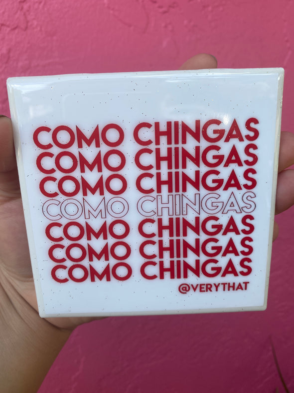 Como Chingas Tiles - Red and White Tile / Coaster