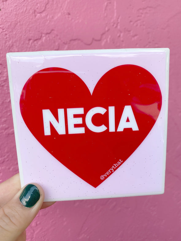 Necia Heart Tile / Coaster - Pink and Red