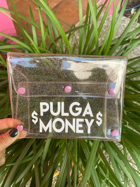 Pulga Money Pink Glitter Clutch