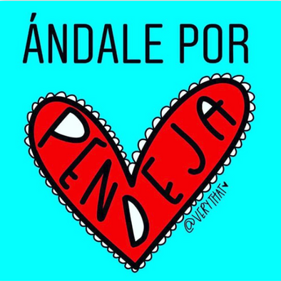 Andale Por Pendeja red heart Sticker by Very That  | 2 x 2""
