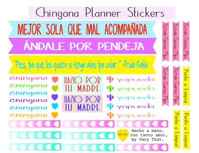 Colorful ChingonaSticker Sheet by Very That / Planner Journal Sticker Kit
