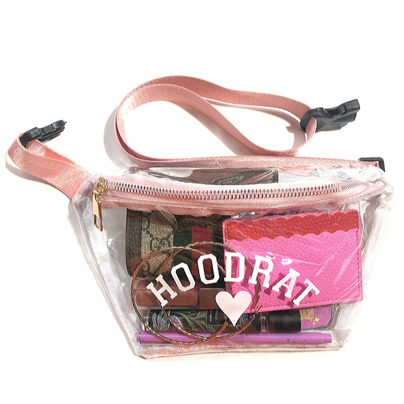 Hoodrat Clear Fanny Pack with Pink Straps