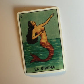 "La Sirena vinyl sticker / loteria sticker / mermaid sticker 1.5"" x 2.3"""