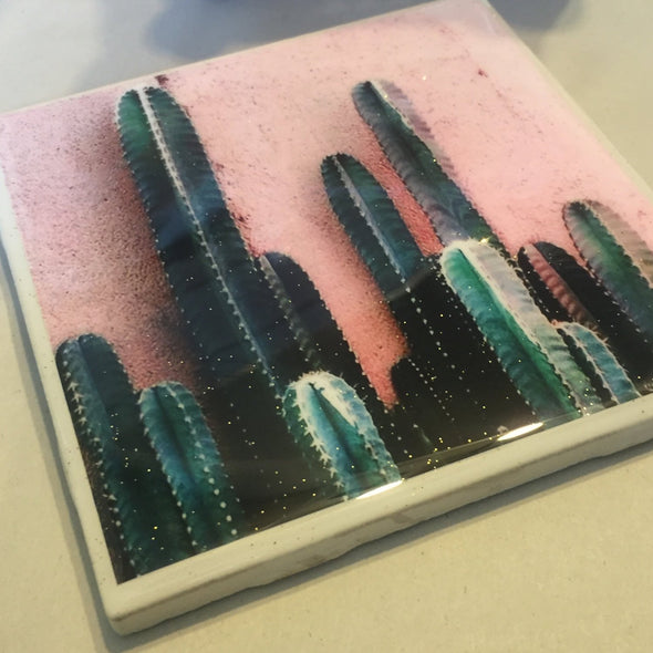 Cactus on Pink Wall  tile / coaster by Very That | water resistant