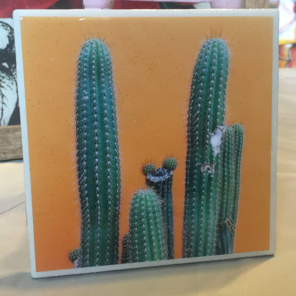 Cactus on Mustard Yellow Wall  tile / coaster by Very That | water resistant