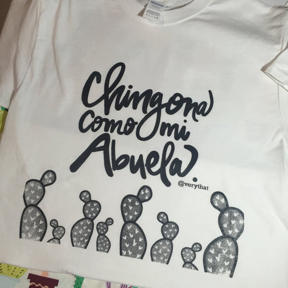 Clearance Chingona Como Mi Abuela T shirt in black & white by Very That