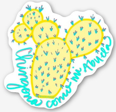 "Chingona como mi Abuela Vinyl Stickers 2 x 2"" by Very That, yellow cactus, typography, journals, planner, bumper sticker!"