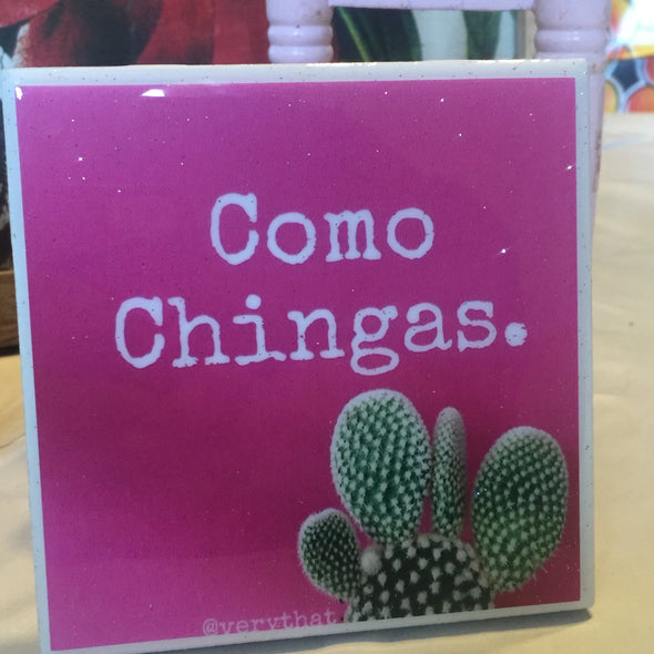 Como Chingas | Pink Cactus | tile / coaster by Very That | water resistant