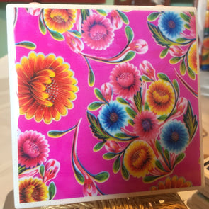 Pink Oil Cloth  tile / coaster by Very That | water resistant