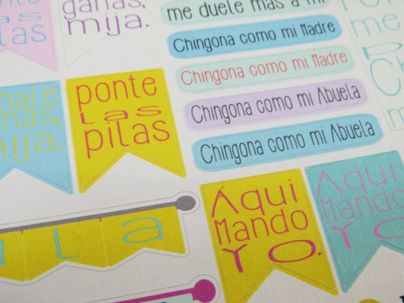 Mami Dichos / Chingona Planner Sticker Sheet by Very That | EC Planners | Passion Planner | Very That Stickers