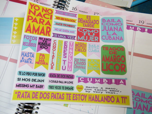 Canciones / Spanish Song Stickers /  Chingona Planner Sticker Sheet by Very That | EC Planner | Passion Planner | Very That Stickers