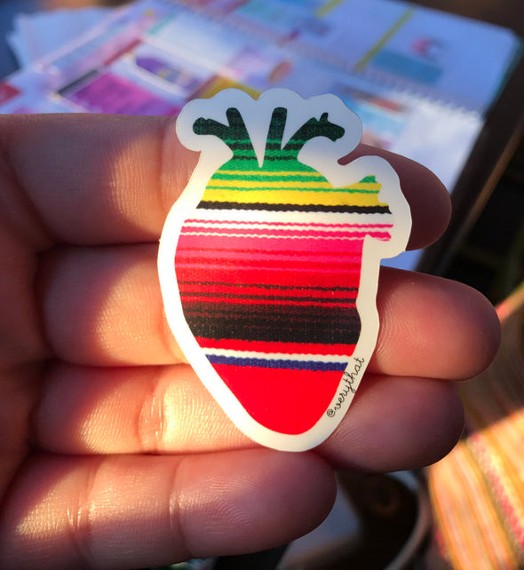 Serape Corazon | Sarape Heart Sticker | by Very That Sticker Water Resistant Sticker | Vinyl