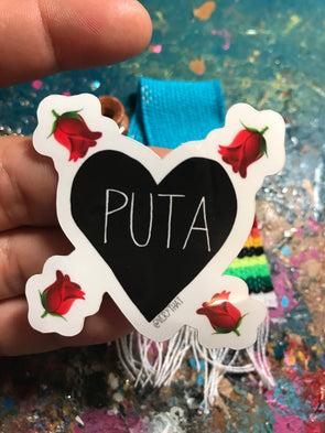 Puta Rose Sticker by Very That  | Water Resistant Sticker | Black Heart Sticker | Puta Heart | Latina Sticker