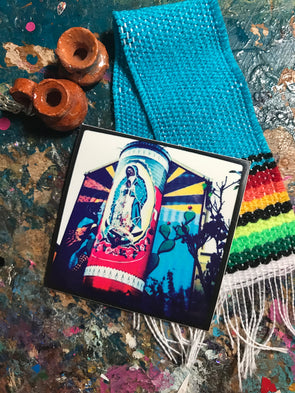 Virgen de Guadalupe Veladora Mural Sticker  by Very That  | Water Resistant Sticker | Tonantzin Sticker | Virgencita Sticker