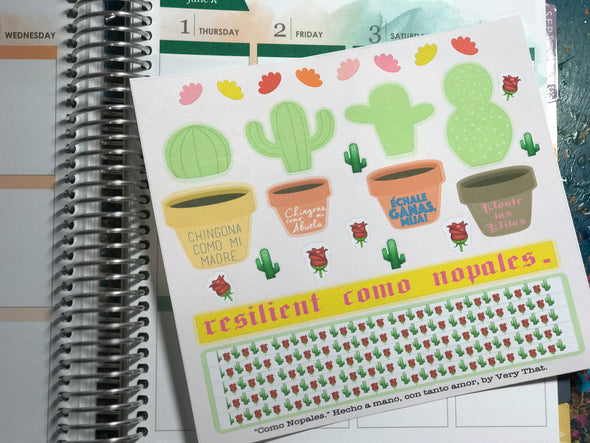 Como Nopales interactive Sticker Sheet by Very That | EC Planners | Passion Planner | Very That Stickers | cactus Sticker | DIY planner