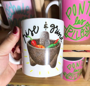 Rise and Grind like a Molcajete mug by Very That | Full Color Mug | Chingona | Latina