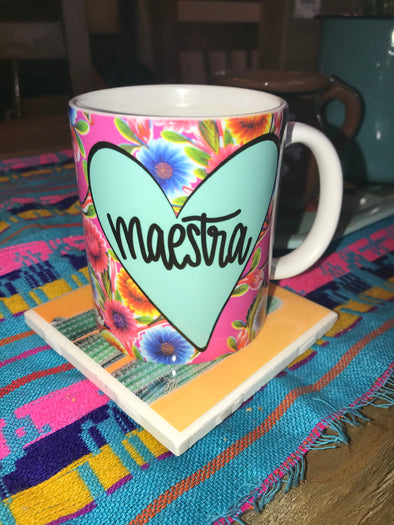 Maestra Pink Oil Cloth Mug by Very That | Full Color Mug | Chingona | Latina