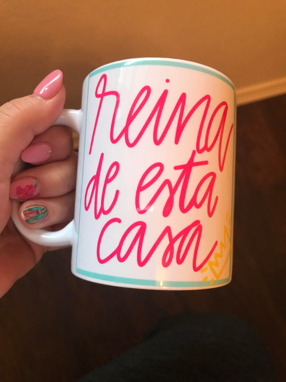 Reina de Esta Casa mug by Very That | Full Color Mug | Chingona | Latina | Bidi Bidi | Latina Mug | Mug for Left Handed | Wrapped coffee