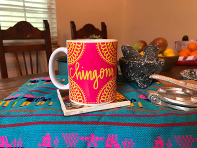 Chingona Mug in Pink and Yellow by Very That | Full Color Mug | Chingona | Latina