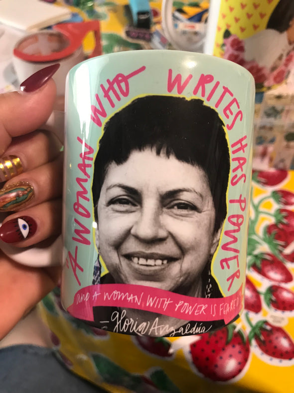 A Woman Who Writes / Gloria Anzaldua Mug by Very That | Full Color Mug | Chingona | Latina