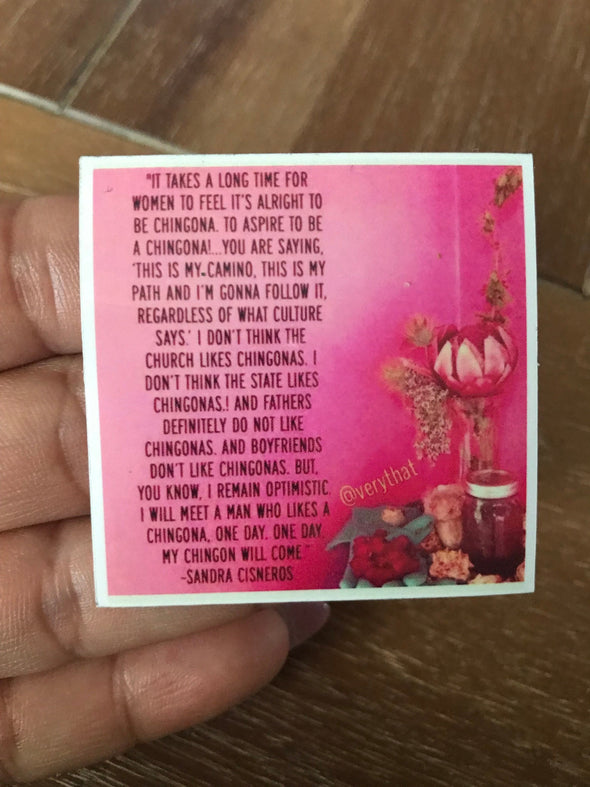 Chingona Sandra Quote Pink Sticker by Very That  | Water Resistant Sticker | Cactus Sticker | Latina Sticker