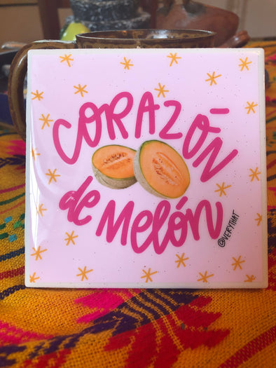 Corazón de Melón Tile | Coaster | by VeryThat == water resistant, y shiny!
