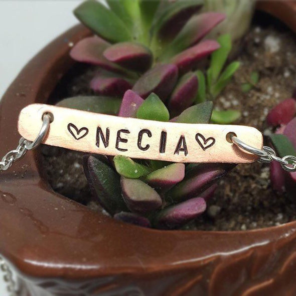 "On Sale! Necia metal stamped necklace by VeryThat. 18"" chain"