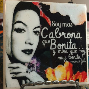 Bonita y Cabrona María Felix tile / coaster by Very That