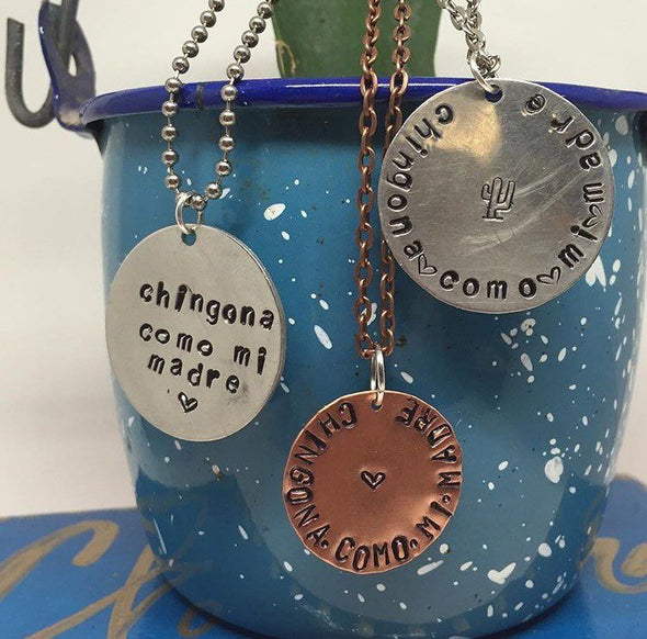 On Sale! Chingona Como Mi Madre - stamped necklace by Very That