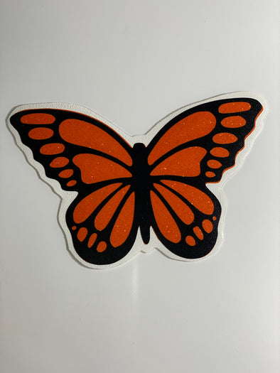 Monarch Butterfly Vinyl Decal (black with glittery orange)