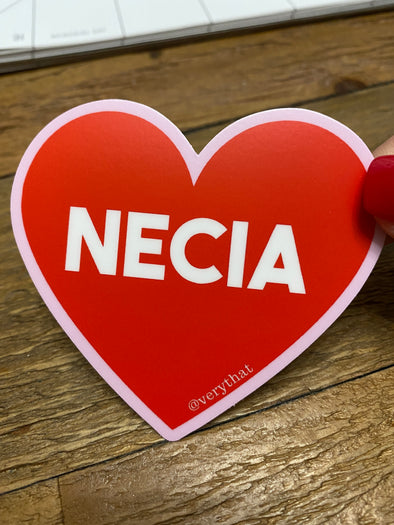 Necia Heart Dye Cut Sticker / pink and red (big)
