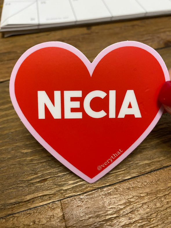 Necia Heart Dye Cut Sticker / pink and red