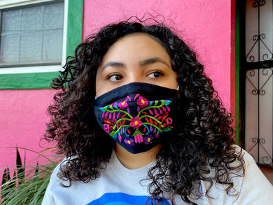 Black Floral Mexican Face Mask - M22