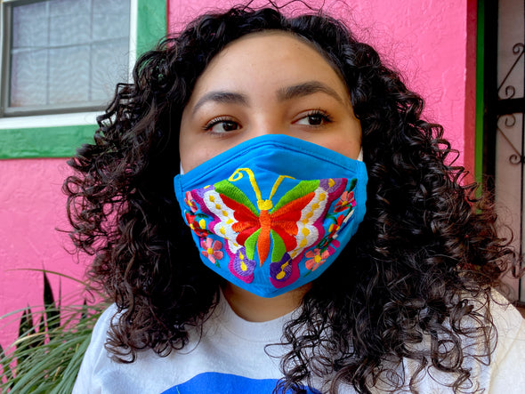 Blue Butterfly Mexican Face Mask - M23