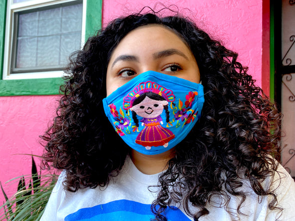 Blue Mexican Doll Mexican Face Mask - M25