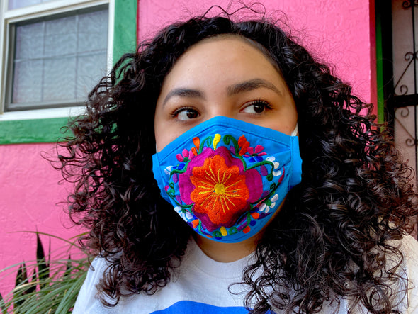 Blue Floral Mexican Face Mask - M27