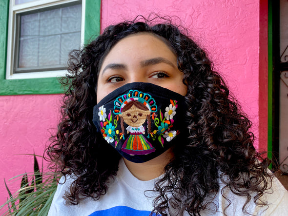 Black Mexican Doll Mexican Face Mask - M28