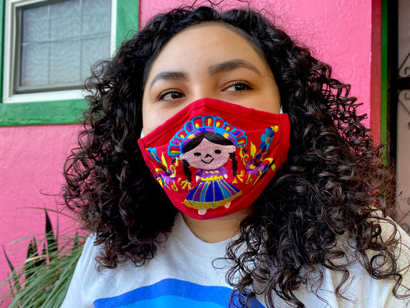 Red Mexican Doll Mexican Face Mask - M29