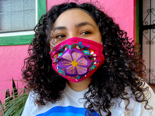 Pink Floral Mexican Face Mask - M30
