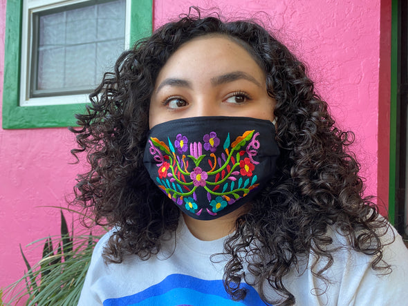 Black Floral Mexican Face Mask - M32