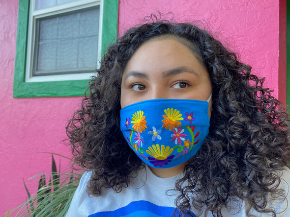 Blue Floral Mexican Face Mask - M33